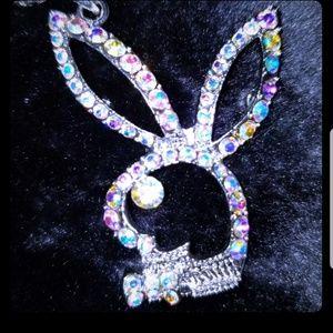 Playboy bunny necklace Swarovski crystal bling!
